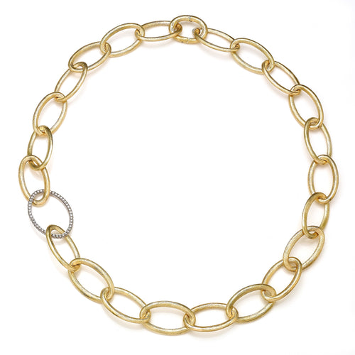 Brushed Yellow Gold Shared Prong Oval Necklace