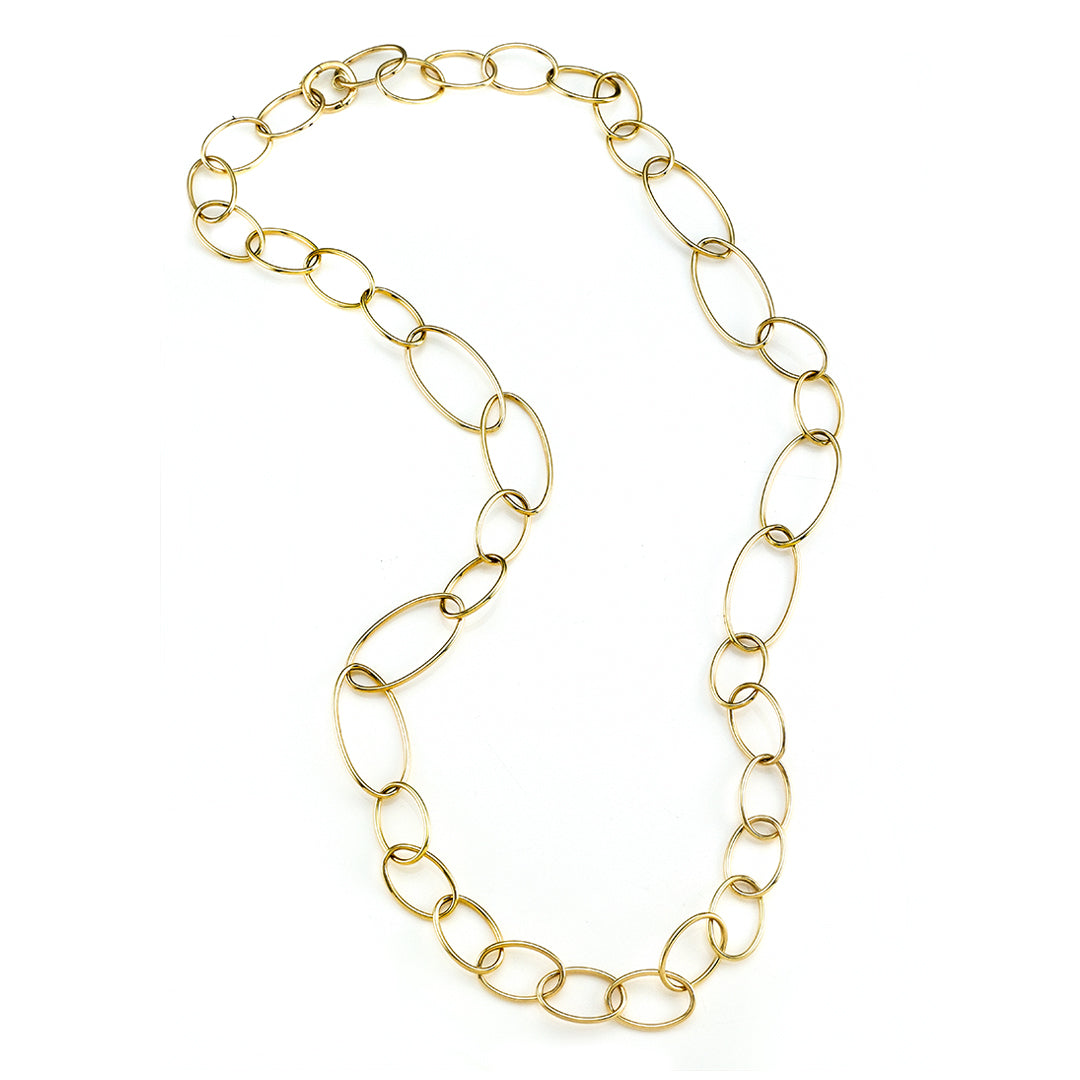 Yellow Gold Oval Link High Polished Necklace