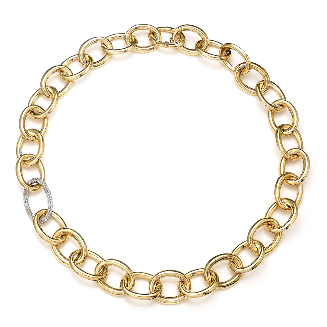 Oval Diamond Pave Link High Polished Yellow Gold Oval Link Necklace