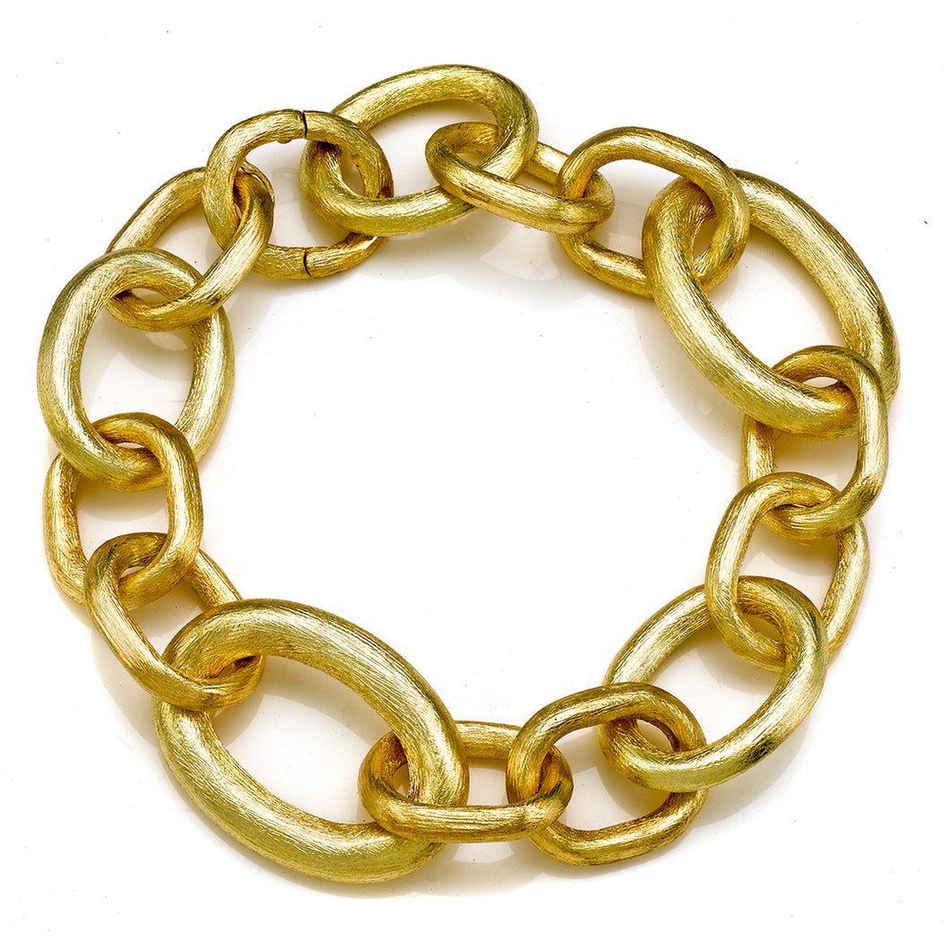 Brushed Yellow Gold Oval Link Invisible Clasp Bracelet