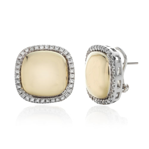Diamond Halo Framed Polished Cushion Shaped Button Style Earrings
