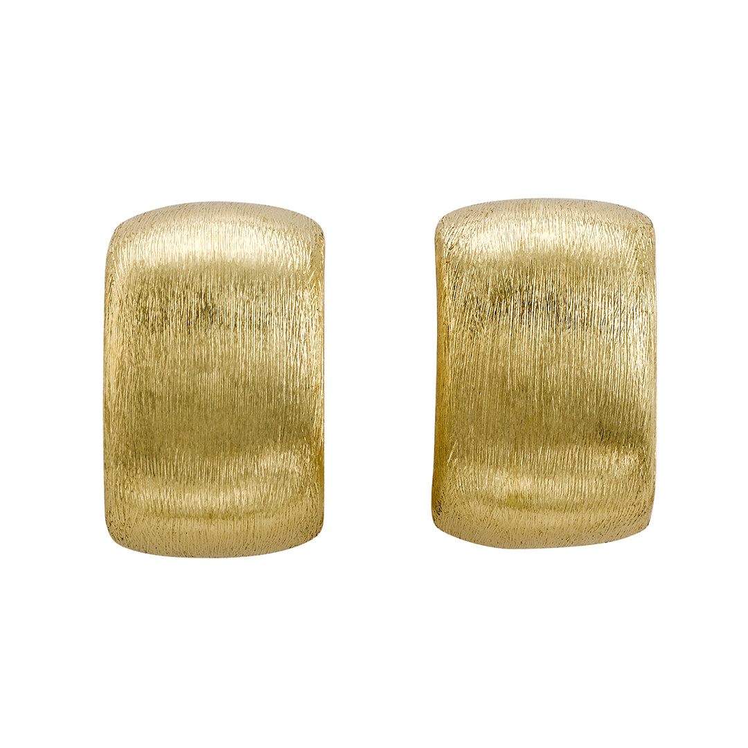 Brushed Finish Button Style Wide Earrings
