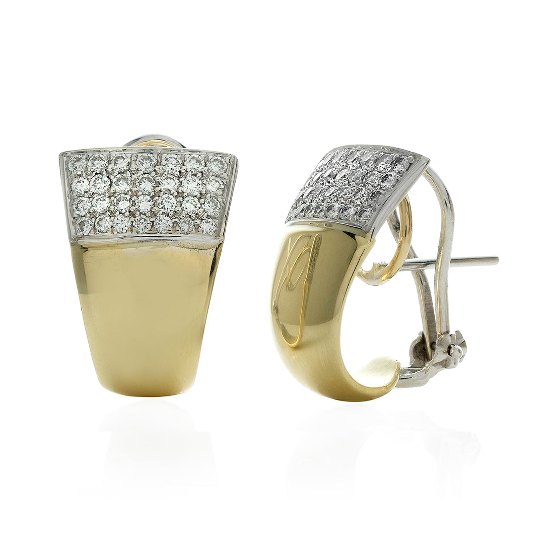 Pave Diamond Top Two Tone Tapered Polished Huggie Earrings