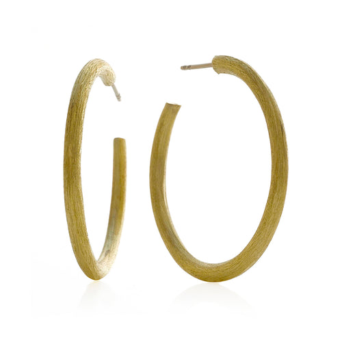 Push Back Post Brushed Round Hoop Earrings