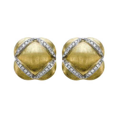 Yellow Gold Cushion Shape Brushed Finish Button Style Diamond Shaped Pave Diamond Accent  Earrings