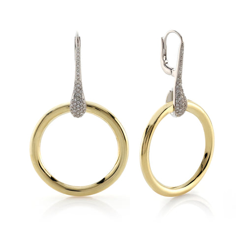 Yellow Gold Polished Circle Teardrop Shaped Diamond Accent Earrings