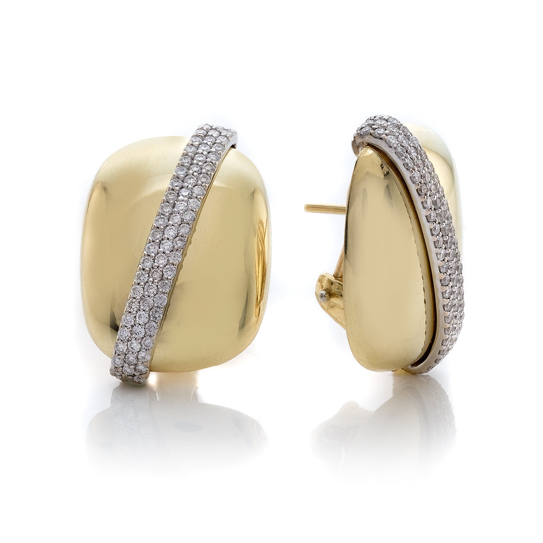 Two Tone Polished Cusion Shape Button Triple Row Pave Diamond Earrings