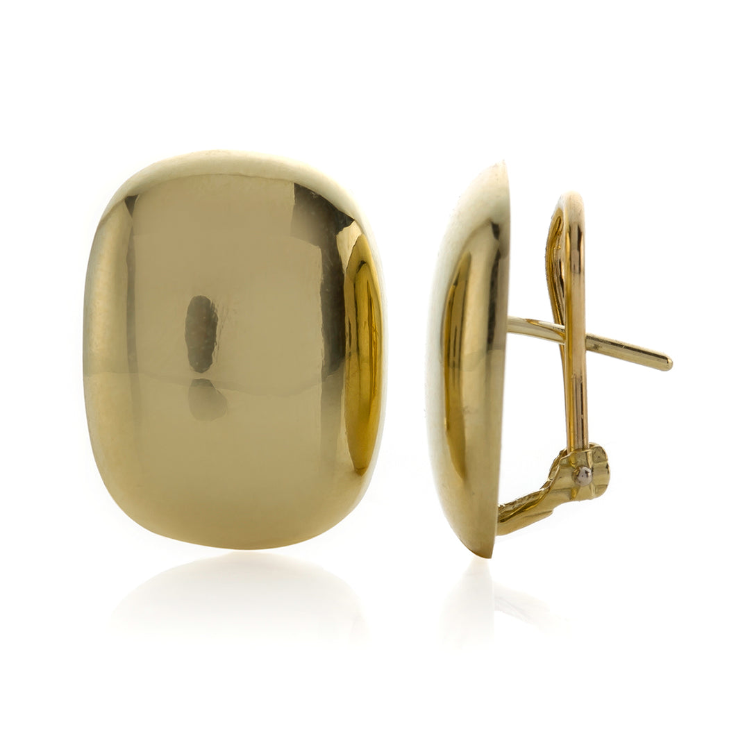 Yellow Gold Polished Cushion Shape Button Style Earrings