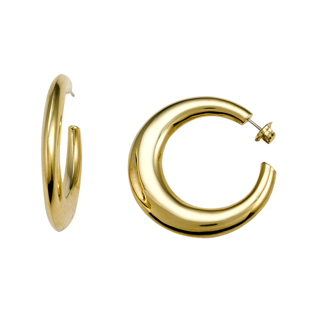 Yellow Gold Polished 36mm Hoop Earrings