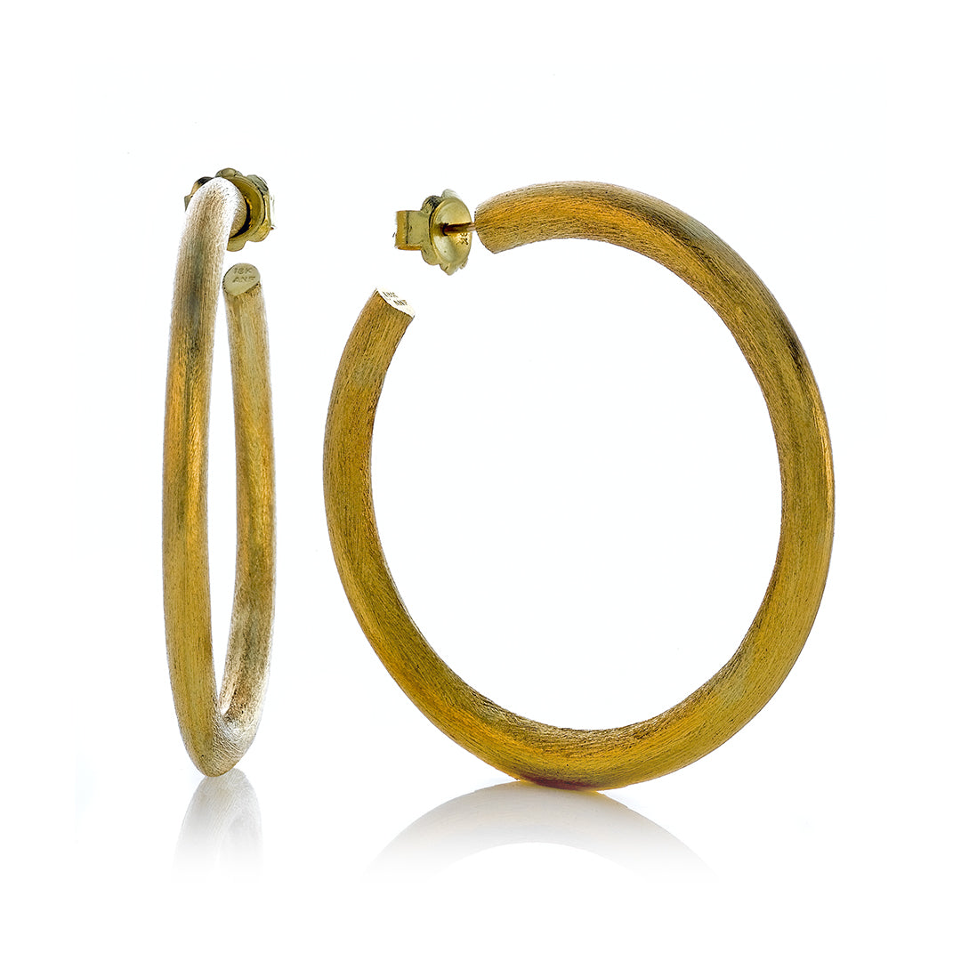 Brushed Yellow Gold Open Hoop Post Back Earrings