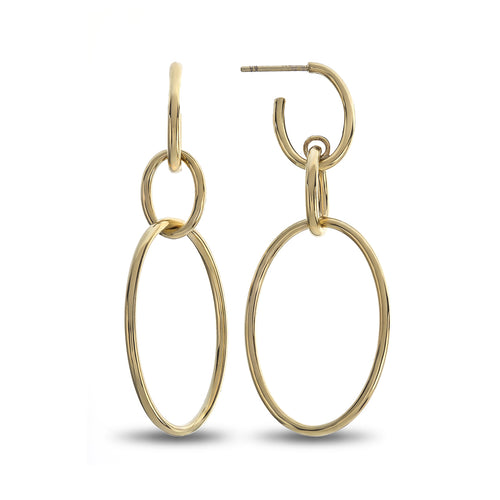 Three Oval Post High Polished Yellow Gold Large Dangle Earrings