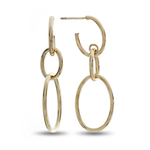 Three Oval Post High Polished Yellow Gold Dangle Earrings