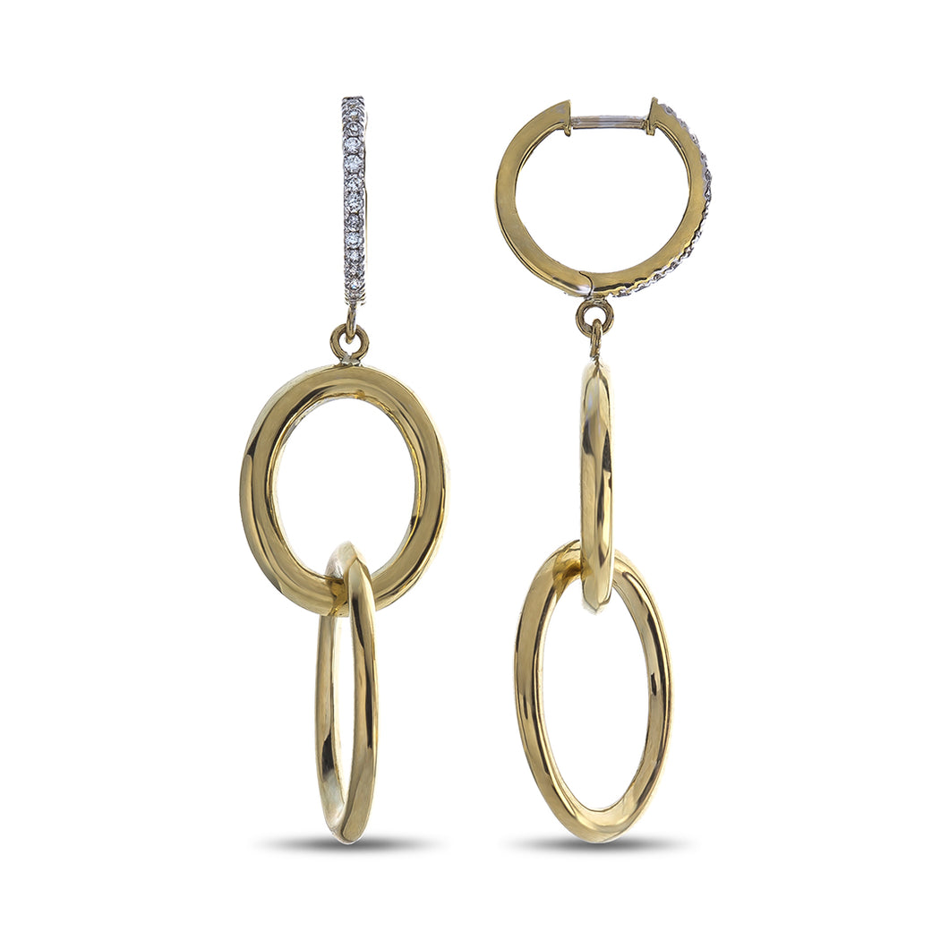 Round Diamond Hoop Top High Polished Yellow Gold Oval Dangle Earrings