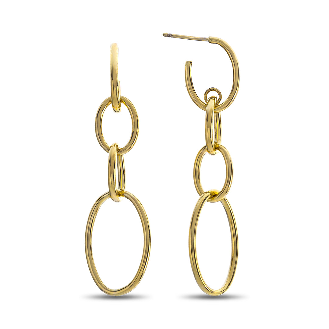Four Oval High Polished Yellow Gold Dangle Earrings