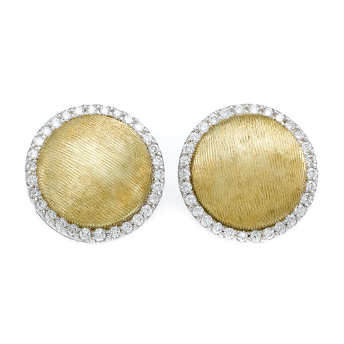 Round Diamond Framed Brushed Yellow Gold Button Earrings
