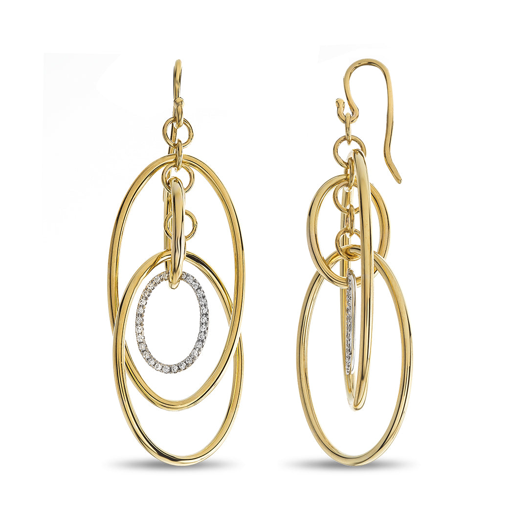 Oval Shape Diamond Dangle High Polished Yellow Gold Oval & Round Drop Earrings