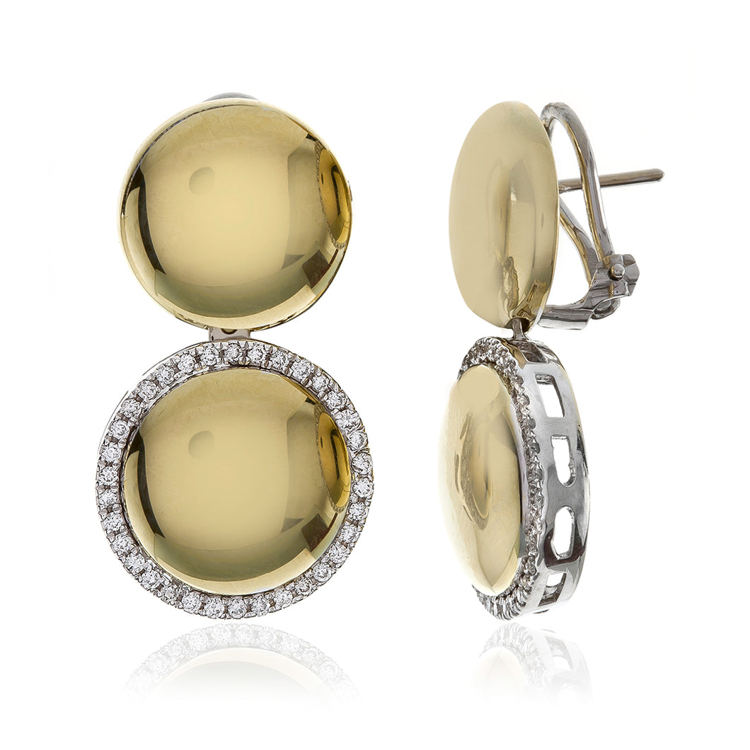 Lower Drop Diamond Halo Framed High Polished Round Drop Earrings