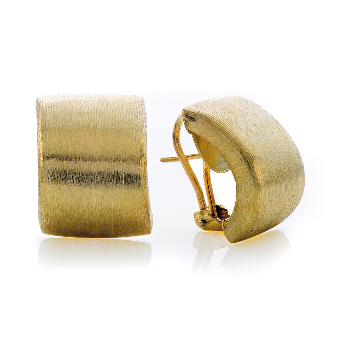 Omega Backing Brushed Yellow Gold Huggie Cuff Earrings