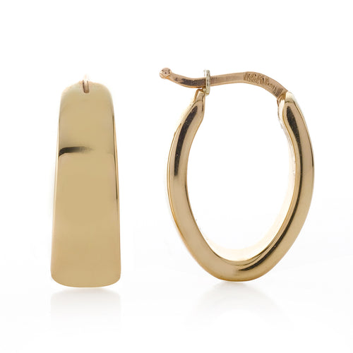 Oval Shape Tapered Hoop Earrings