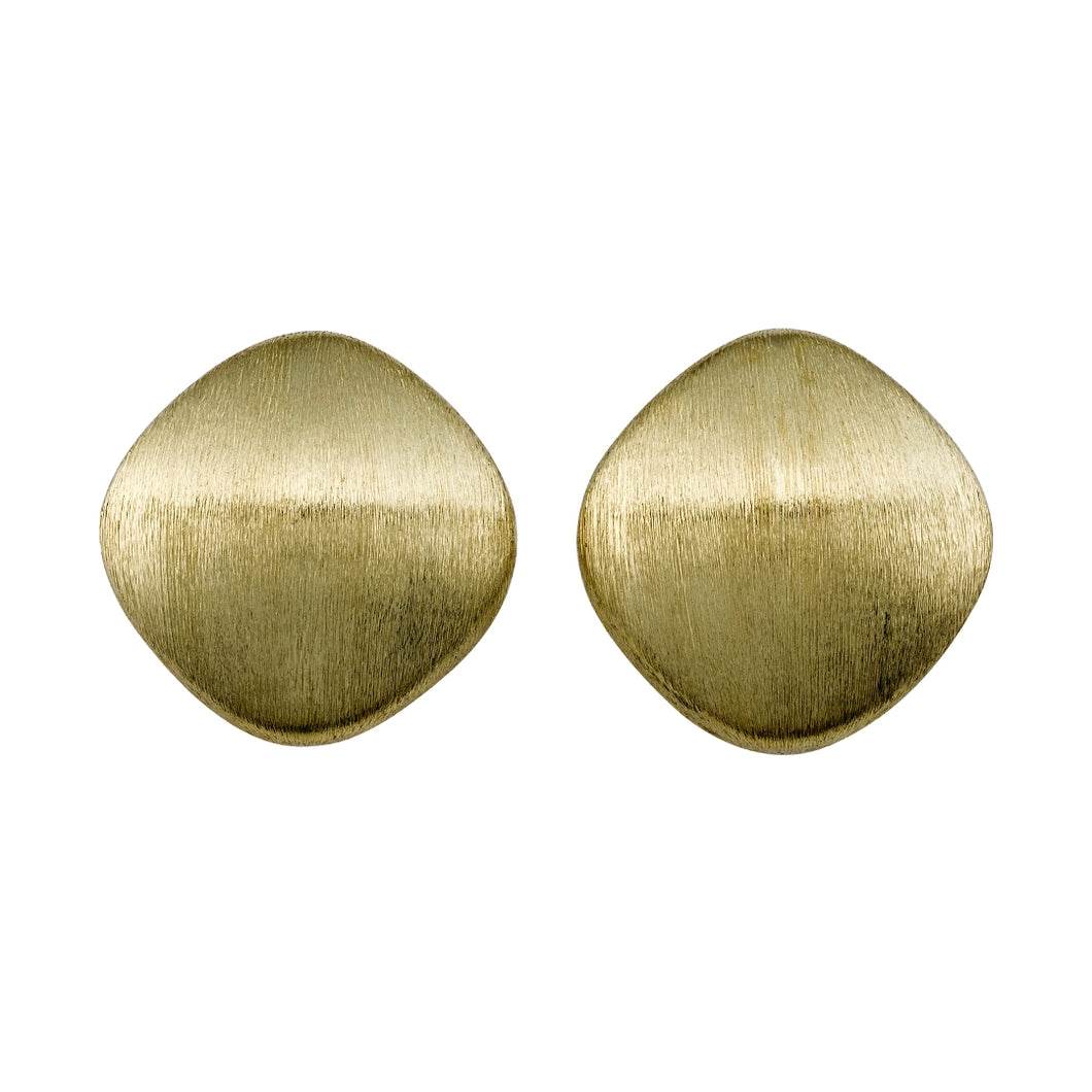 Cushion Shape Brushed Finish Stud Earrings