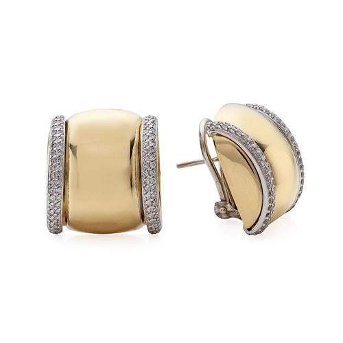 Pave Diamond Framed High Polished Button Earrings