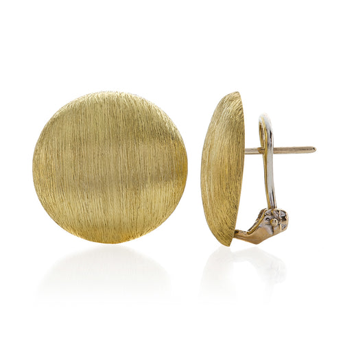 Round Shape Brushed Finish Button Style Earrings