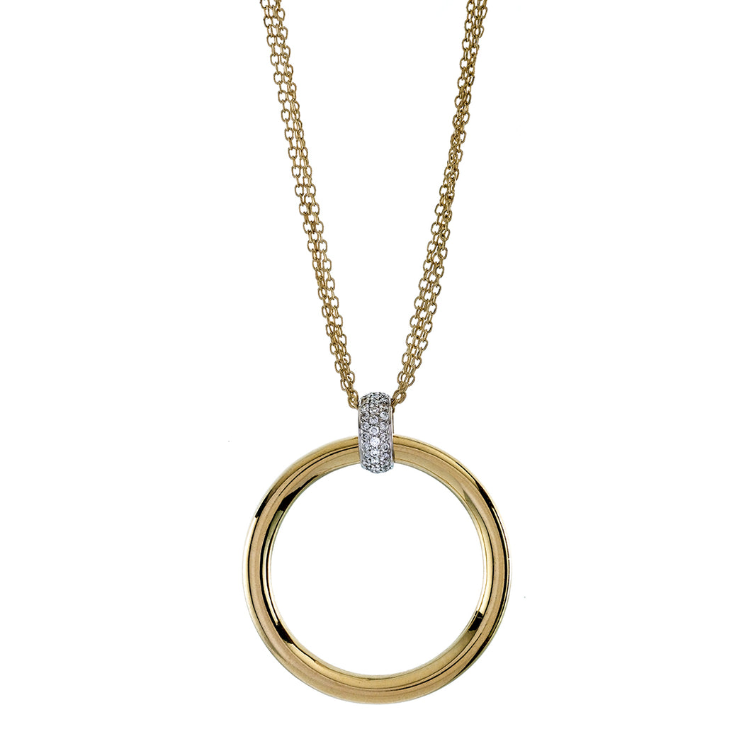 Pave Diamond Bail & Triple Cable Chain Two Tone High Polished Circle Pendant