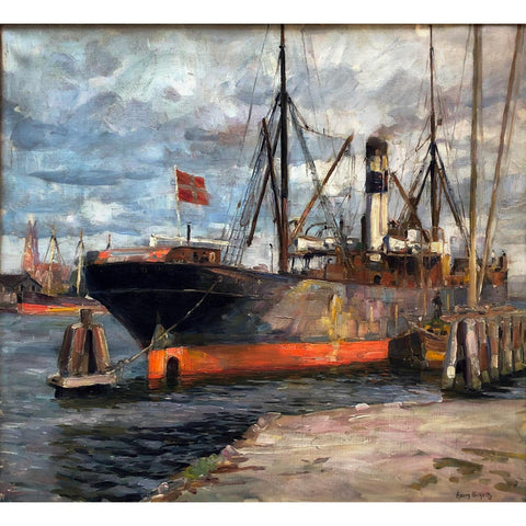"Harry Shultz - ""Ship in Harbor"""