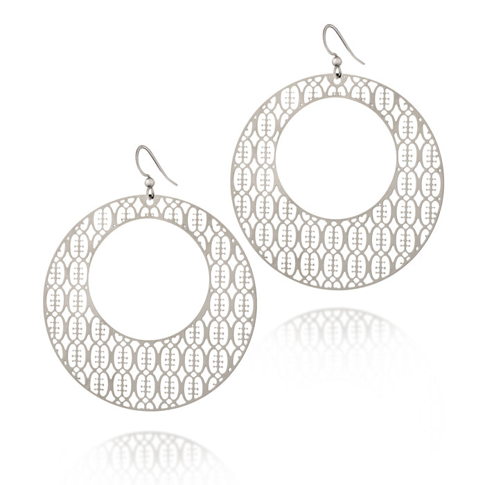 Friendship Round Hoop Drop Earrings