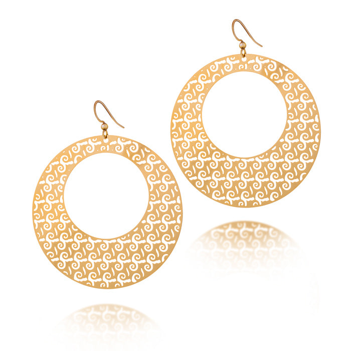Load image into Gallery viewer, Bravery Round Hoop Drop Earrings
