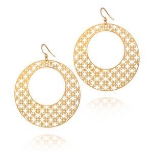 Load image into Gallery viewer, Greatness Round Hoop Drop Earrings