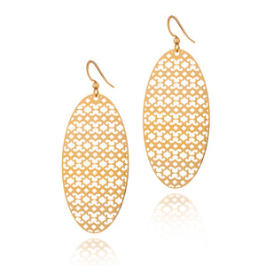 Load image into Gallery viewer, Strength Oval Drop Earrings