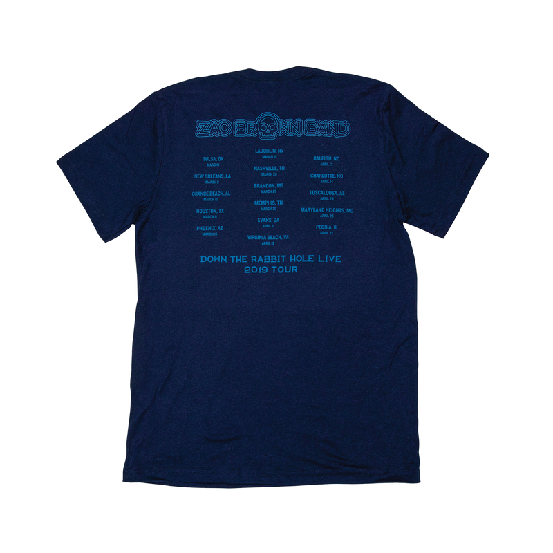 Zac Brown Band: Down the Rabbit Hole 2019 Navy Radiating Skull Tee by Zac Brown Band