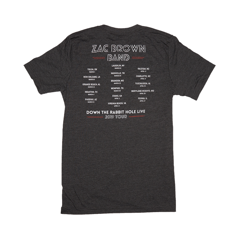 Zac Brown Band: Spring 2019 USA Maze Heather Gray Tee Back 2019 Tour Dates