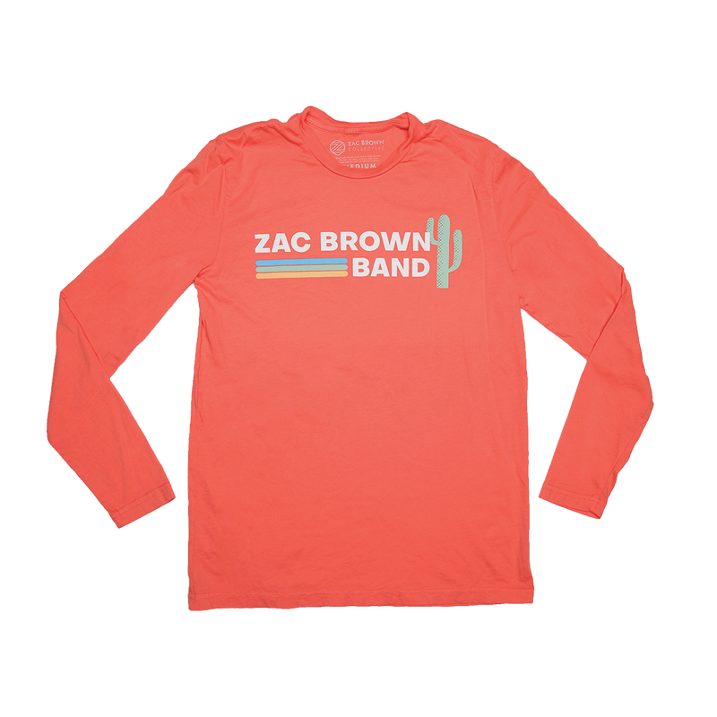 Zac Brown Band: 2019 Coral Cactus Long Sleeve Cactus and Stripes