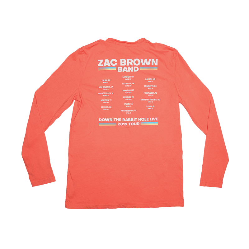 Zac Brown Band: Spring 2019 Coral Cactus Long Sleeve Back 2019 Tour Dates