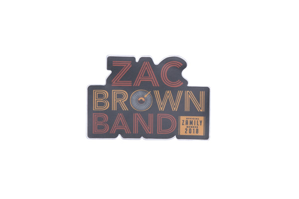 2018 Zac Brown Band Record Sticker