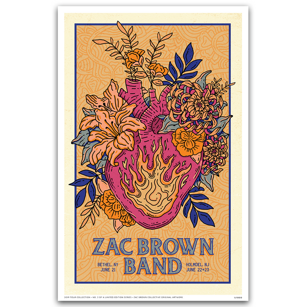 2019 Zac Brown Band Tour Print #2 Heart Growing flowers