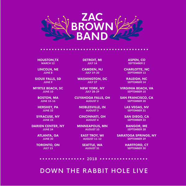 Zac Brown Band: Down the Rabbit Hole 2018 Bouquet Tour Tee