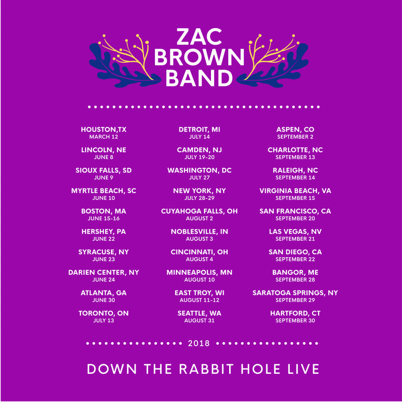 Zac Brown Band: Down the Rabbit Hole 2018 Bouquet Tour Tee by Zac Brown Band