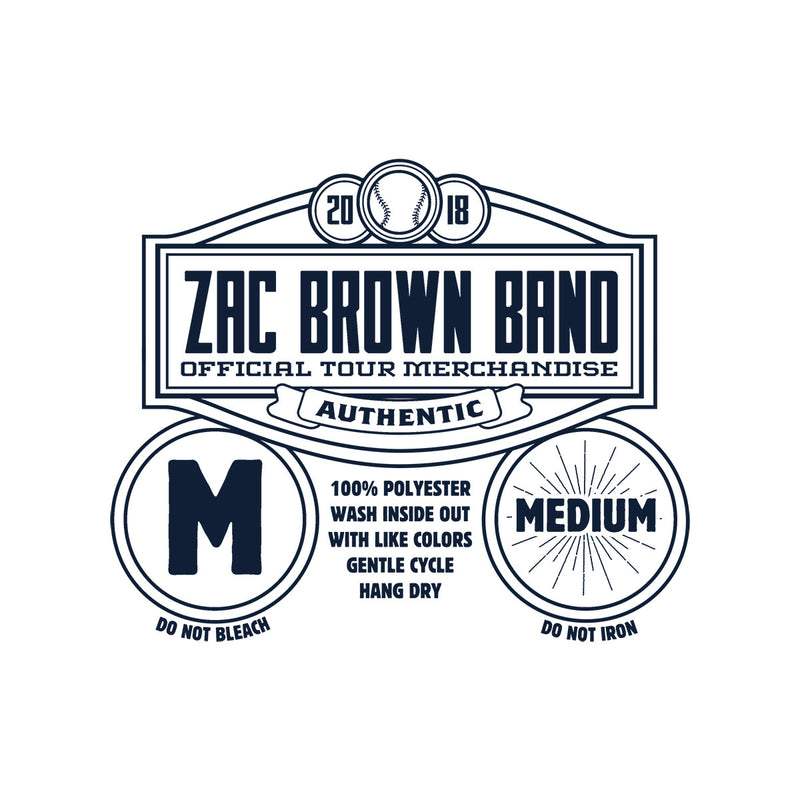 2018 ZBB Tour Jersey- White/Navy by Zac Brown Band
