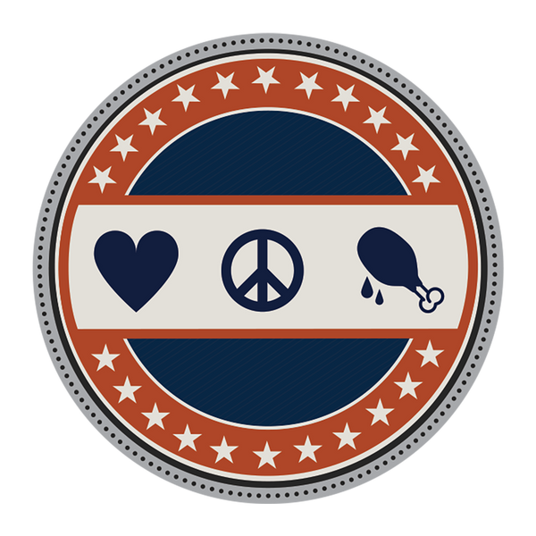 """Love, Peace, & Chicken Grease"" Challenge Coin"