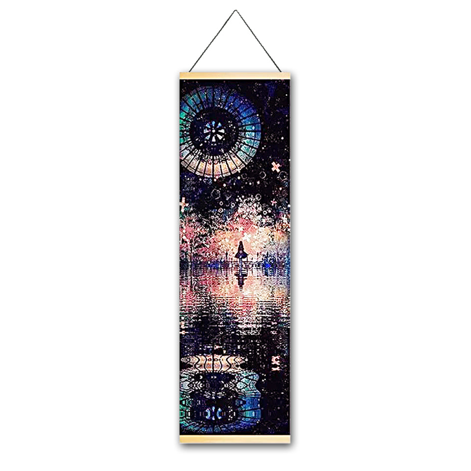 Festive Night Canvas Hanging Scroll