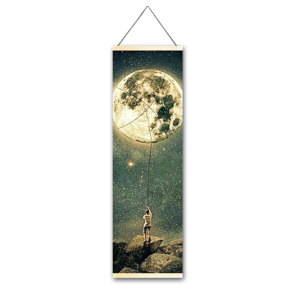 Moon Fishing Canvas Hanging Scroll