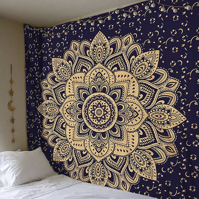 Black and Gold Mandala Tapestry