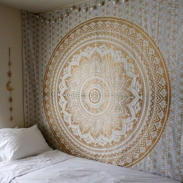 White and Gold Mandala Tapestry - Gleamworks