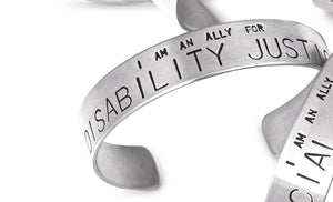 Ally - Social Justice Message Stainless Steel Cuff Bracelet