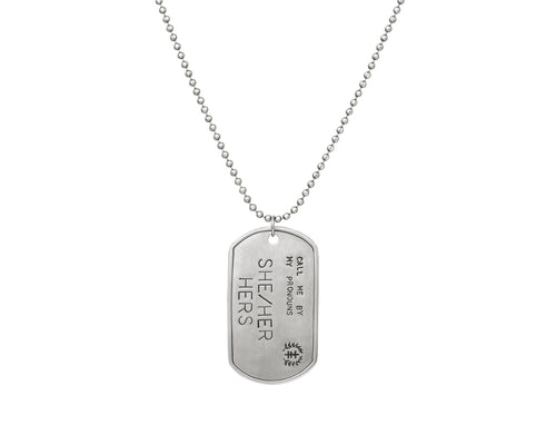 Pronoun Dog Tag Stainless Steel Necklace