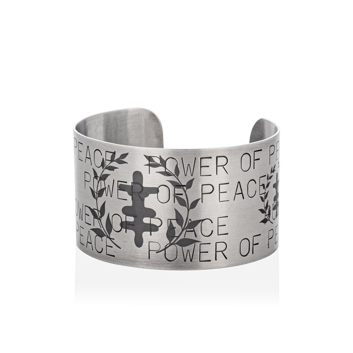Thicc Power of Peace Logo Stainless Steel Cuff Bracelet