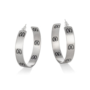 Power of Peace Logo Stainless Steel Hoop Earrings